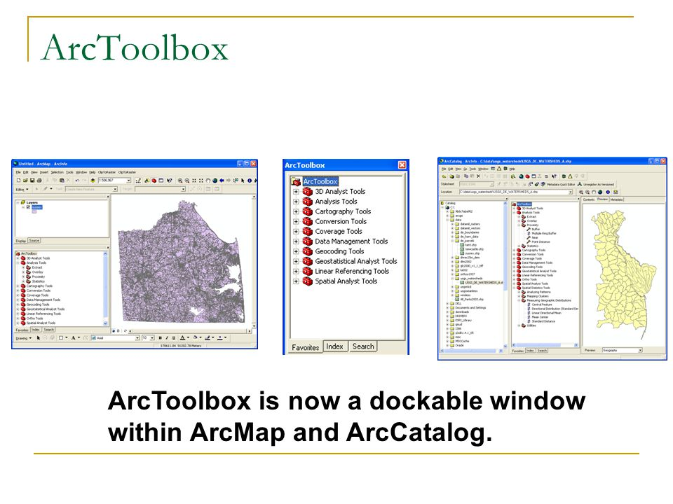 ArcToolbox ArcToolbox is now a dockable window within ArcMap and ArcCatalog.