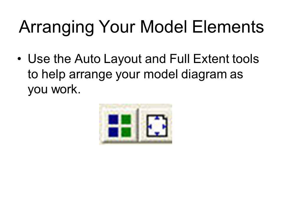 Arranging Your Model Elements Use the Auto Layout and Full Extent tools to help arrange your model diagram as you work.