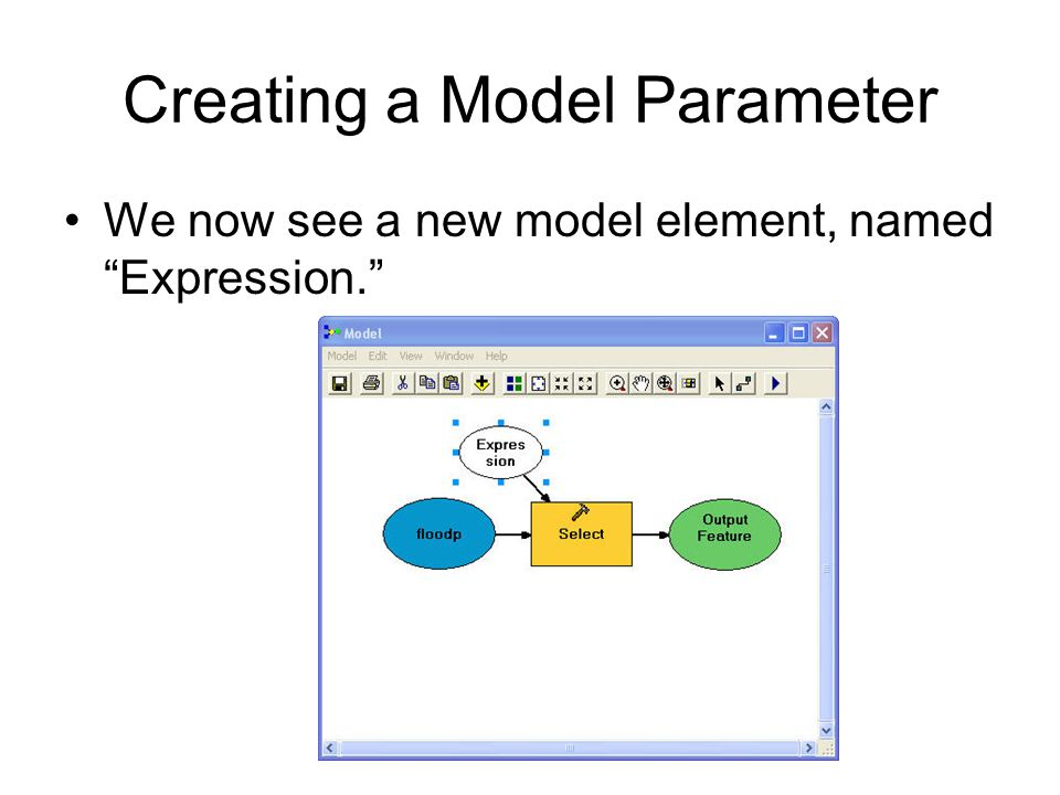Creating a Model Parameter We now see a new model element, named Expression.