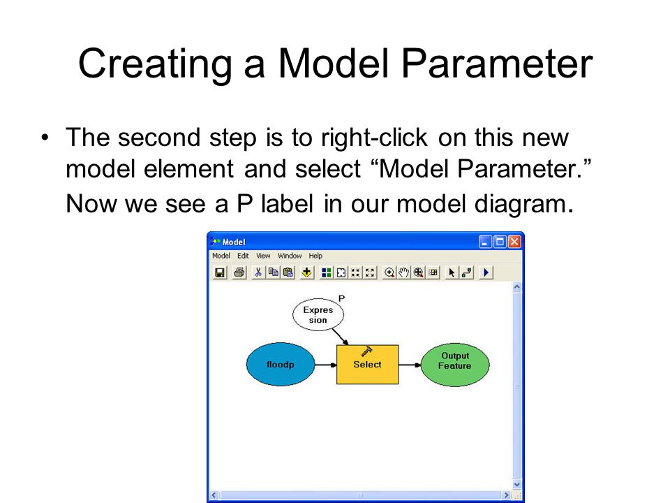 Creating a Model Parameter The second step is to right-click on this new model element and select Model Parameter. Now we see a P label in our model diagram.