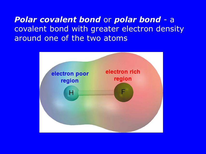 Polar covalent bond or polar bond - a covalent bond with greater electron density around one of the two atoms H F electron rich region electron poor region
