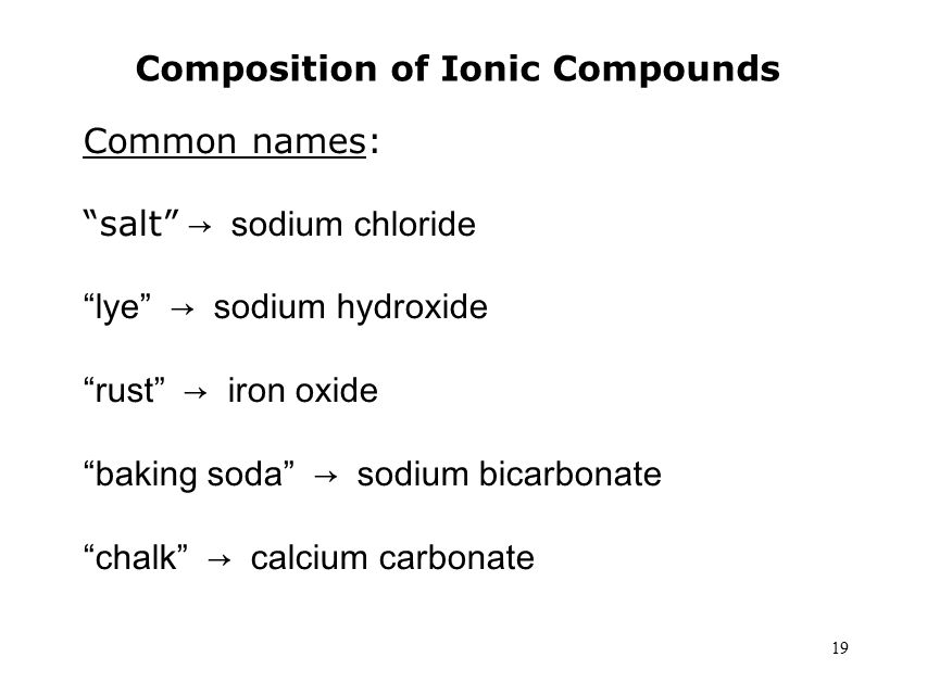 19 Composition of Ionic Compounds Common names: salt → sodium chloride lye → sodium hydroxide rust → iron oxide baking soda → sodium bicarbonate chalk → calcium carbonate