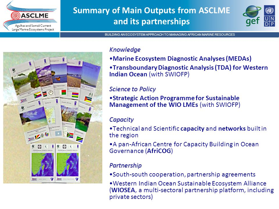 BUILDING AN ECOSYSTEM APPROACH TO MANAGING AFRICAN MARINE RESOURCES Agulhas and Somali Current Large Marine Ecosystems Project Summary of Main Outputs from ASCLME and its partnerships Knowledge Marine Ecosystem Diagnostic Analyses (MEDAs) Transboundary Diagnostic Analysis (TDA) for Western Indian Ocean (with SWIOFP) Science to Policy Strategic Action Programme for Sustainable Management of the WIO LMEs (with SWIOFP)Capacity Technical and Scientific capacity and networks built in the region A pan-African Centre for Capacity Building in Ocean Governance (AfriCOG)Partnership South-south cooperation, partnership agreements Western Indian Ocean Sustainable Ecosystem Alliance (WIOSEA, a multi-sectoral partnership platform, including private sectors)