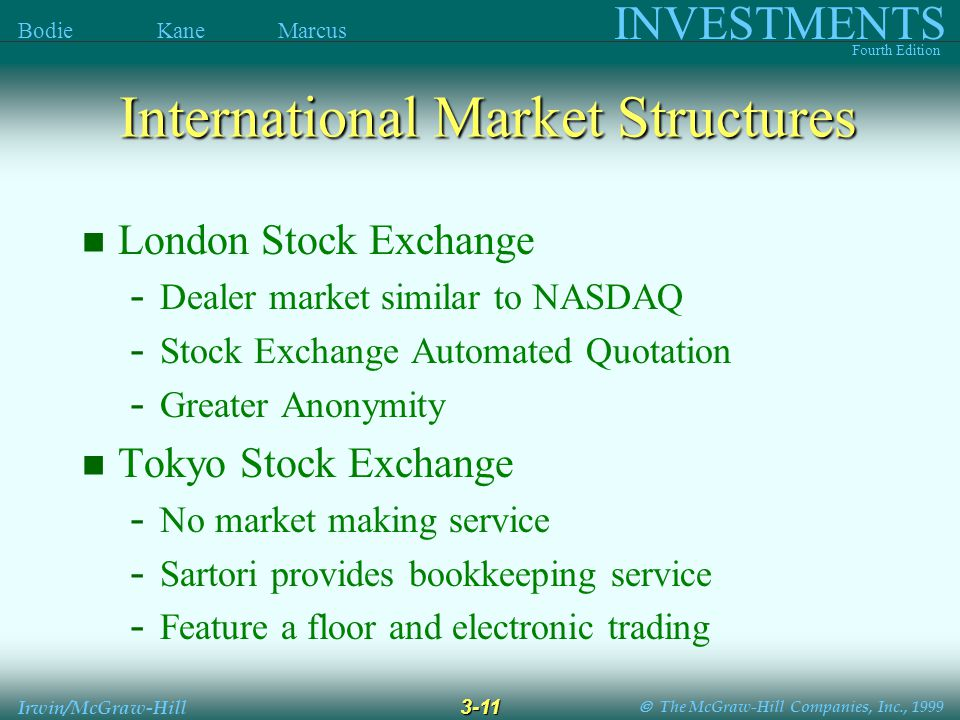 The McGraw-Hill Companies, Inc., 1999 INVESTMENTS Fourth Edition Bodie Kane Marcus 3-11 Irwin/McGraw-Hill International Market Structures London Stock Exchange - Dealer market similar to NASDAQ - Stock Exchange Automated Quotation - Greater Anonymity Tokyo Stock Exchange - No market making service - Sartori provides bookkeeping service - Feature a floor and electronic trading