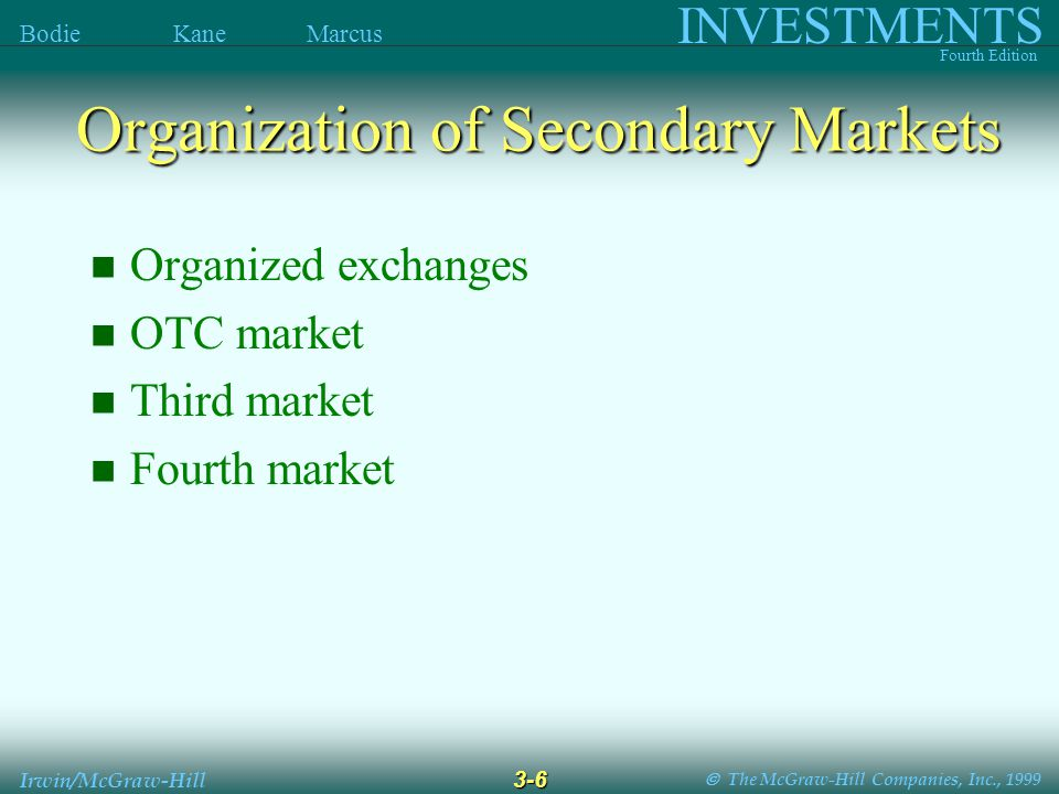  The McGraw-Hill Companies, Inc., 1999 INVESTMENTS Fourth Edition Bodie Kane Marcus 3-6 Irwin/McGraw-Hill Organization of Secondary Markets Organized exchanges OTC market Third market Fourth market