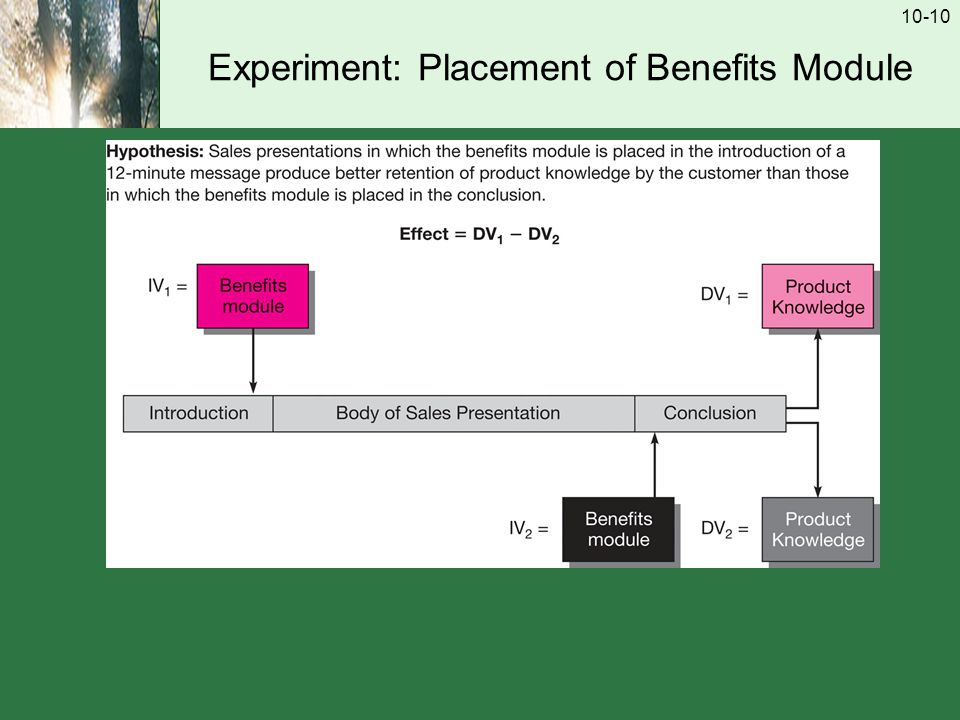 10-10 Experiment: Placement of Benefits Module