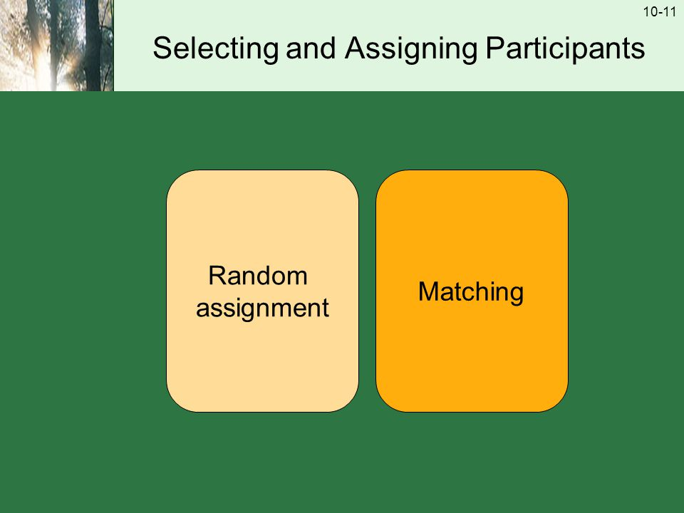 10-11 Selecting and Assigning Participants Random assignment Matching