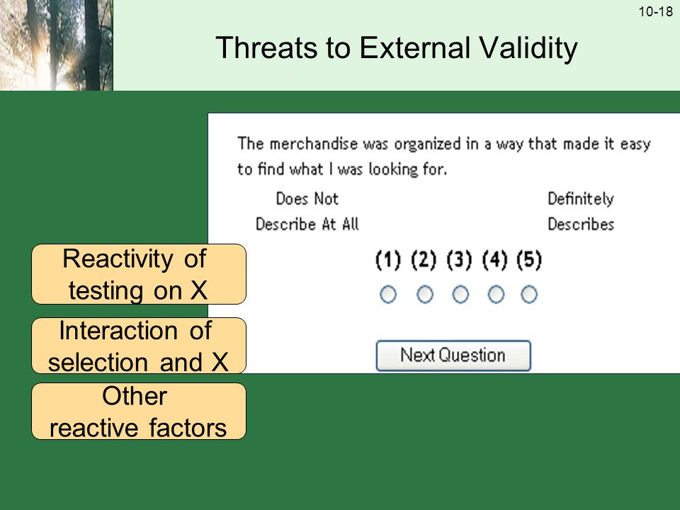 10-18 Threats to External Validity Reactivity of testing on X Interaction of selection and X Other reactive factors