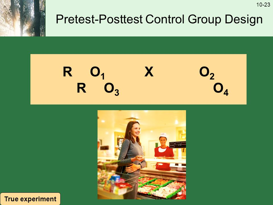10-23 Pretest-Posttest Control Group Design RO1XO2RO3O4RO1XO2RO3O4 True experiment