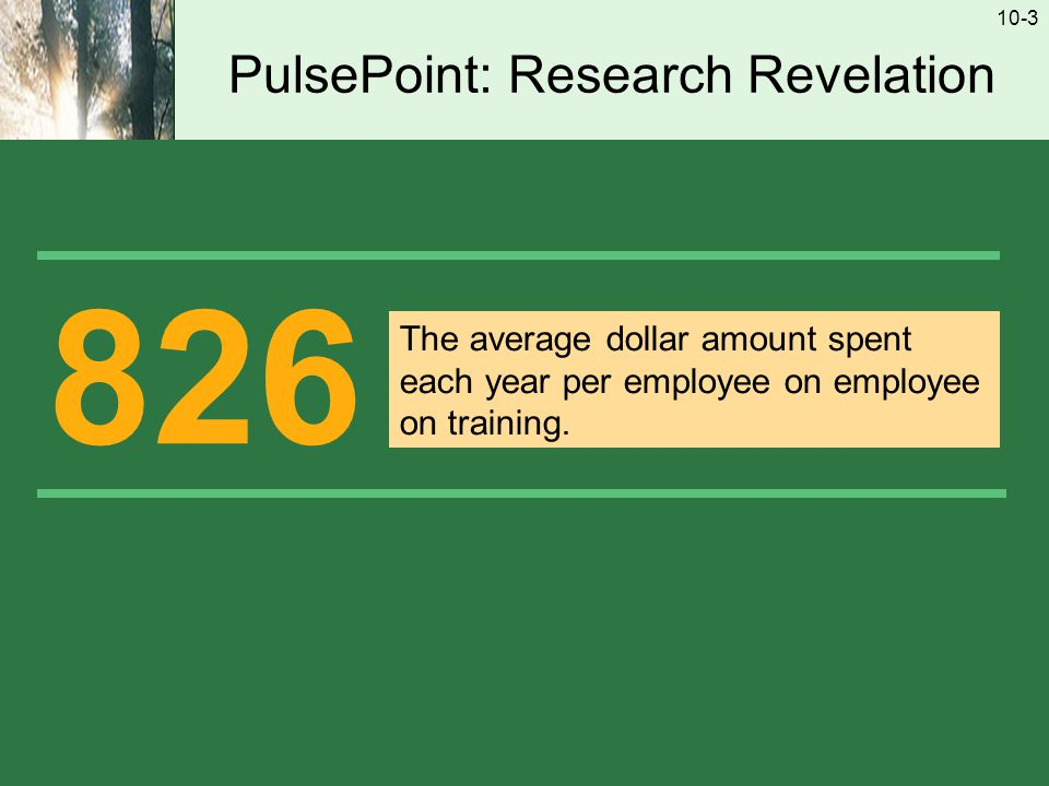 10-3 PulsePoint: Research Revelation 826 The average dollar amount spent each year per employee on employee on training.