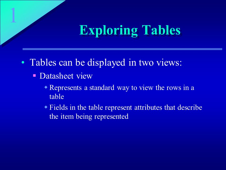 1 Exploring Tables Tables can be displayed in two views:  Datasheet view  Represents a standard way to view the rows in a table  Fields in the table represent attributes that describe the item being represented