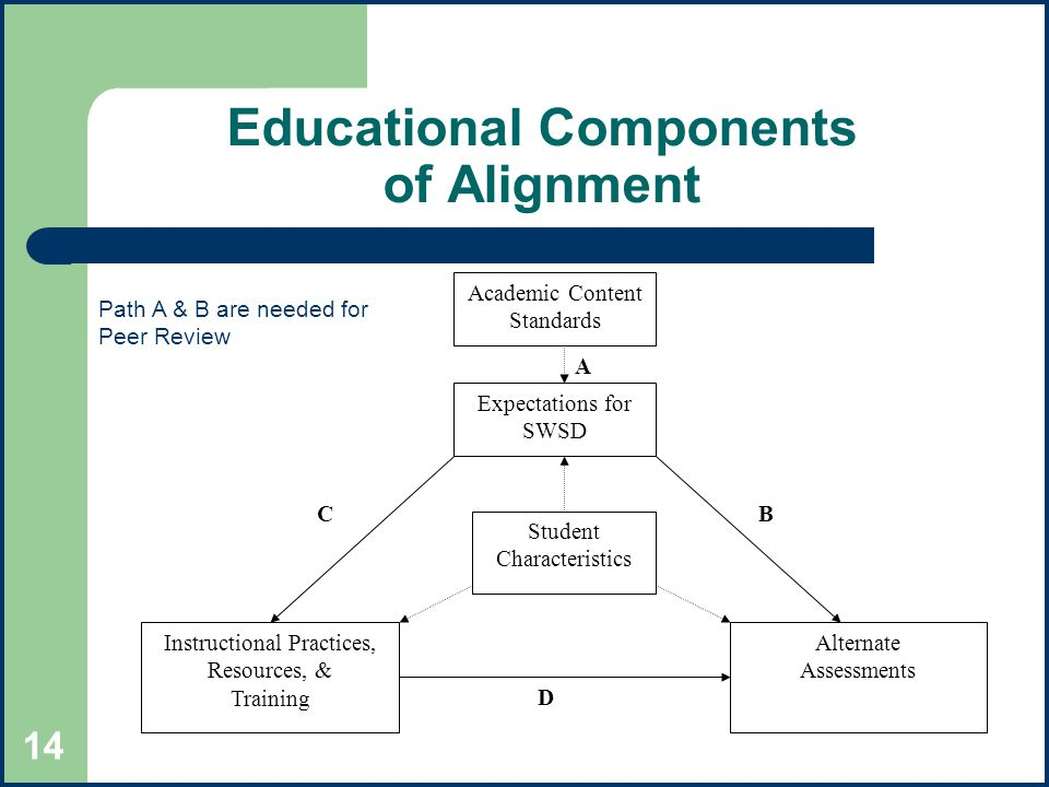 14 Educational Components of Alignment Academic Content Standards Instructional Practices, Resources, & Training Expectations for SWSD Alternate Assessments Student Characteristics A BC D Path A & B are needed for Peer Review