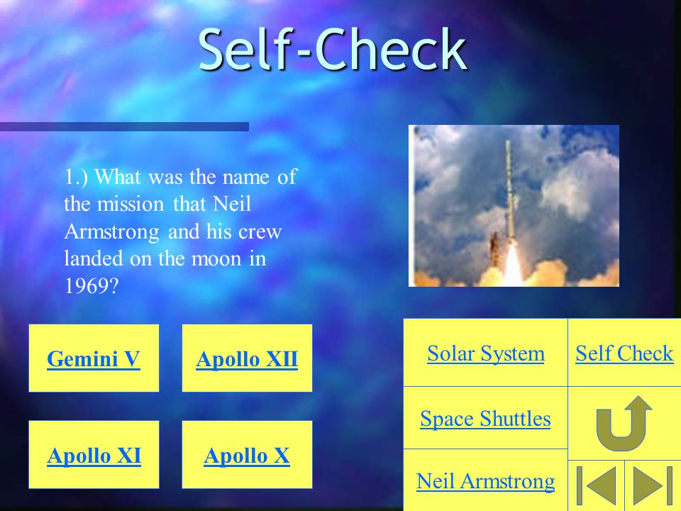 Self-Check 1.) What was the name of the mission that Neil Armstrong and his crew landed on the moon in 1969.