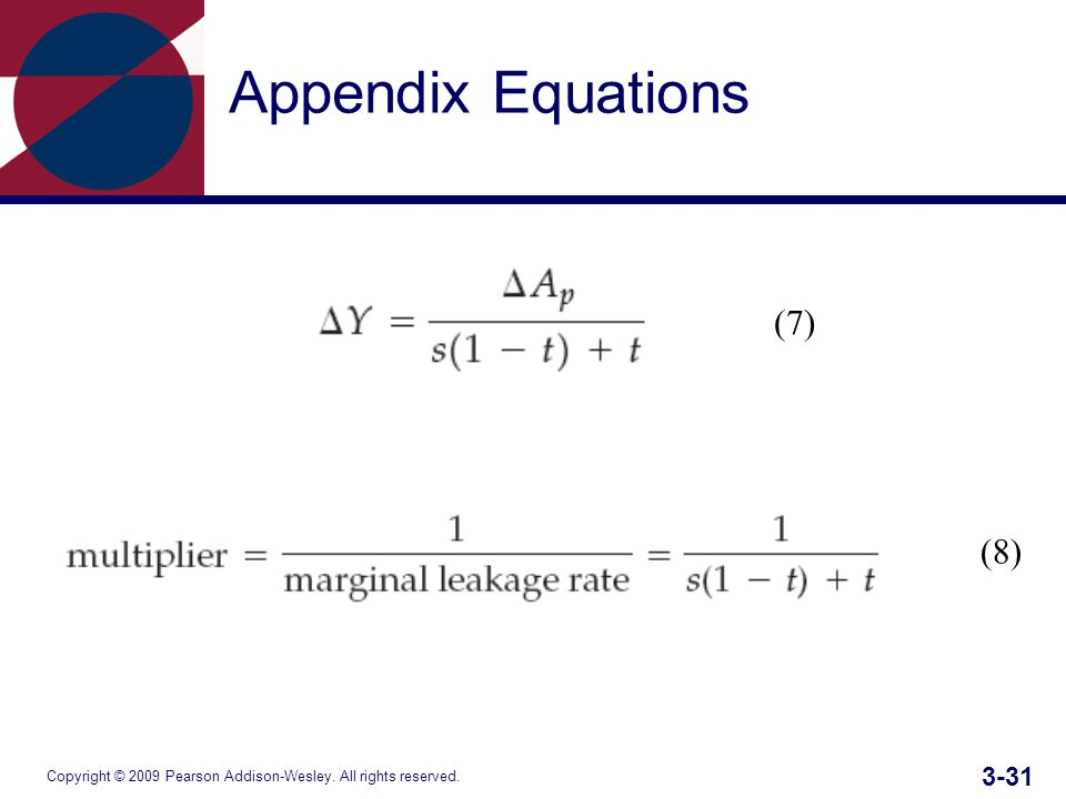 Copyright © 2009 Pearson Addison-Wesley. All rights reserved Appendix Equations (7) (8)