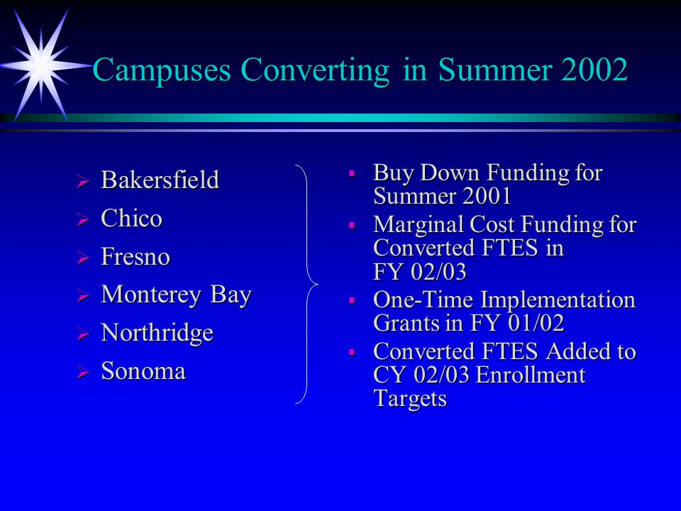 Campuses Converting in Summer 2002  Bakersfield  Chico  Fresno  Monterey Bay  Northridge  Sonoma  Buy Down Funding for Summer 2001  Marginal Cost Funding for Converted FTES in FY 02/03  One-Time Implementation Grants in FY 01/02  Converted FTES Added to CY 02/03 Enrollment Targets