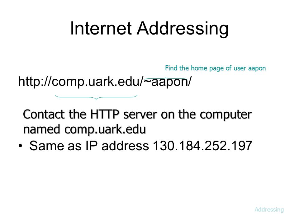 Internet Addressing   Same as IP address Find the home page of user aapon Contact the HTTP server on the computer named comp.uark.edu Addressing