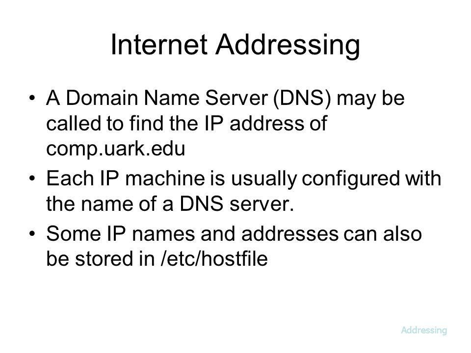 Internet Addressing A Domain Name Server (DNS) may be called to find the IP address of comp.uark.edu Each IP machine is usually configured with the name of a DNS server.