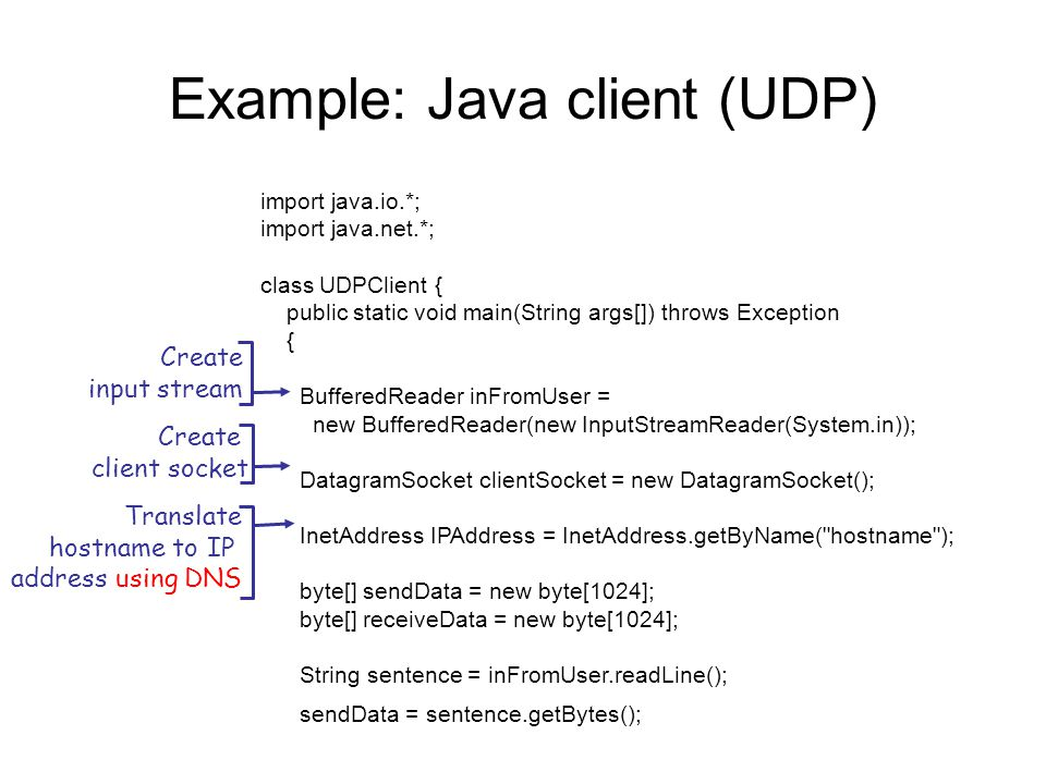 Example: Java client (UDP) import java.io.*; import java.net.*; class UDPClient { public static void main(String args[]) throws Exception { BufferedReader inFromUser = new BufferedReader(new InputStreamReader(System.in)); DatagramSocket clientSocket = new DatagramSocket(); InetAddress IPAddress = InetAddress.getByName( hostname ); byte[] sendData = new byte[1024]; byte[] receiveData = new byte[1024]; String sentence = inFromUser.readLine(); sendData = sentence.getBytes(); Create input stream Create client socket Translate hostname to IP address using DNS