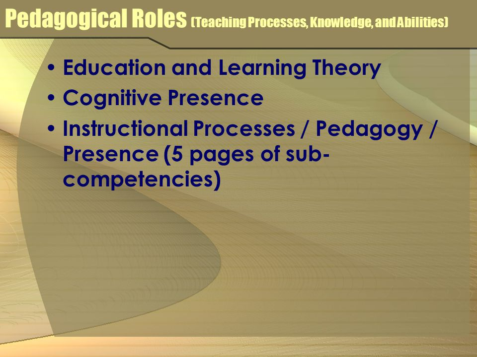 Pedagogical Roles (Teaching Processes, Knowledge, and Abilities) Education and Learning Theory Cognitive Presence Instructional Processes / Pedagogy / Presence (5 pages of sub- competencies)