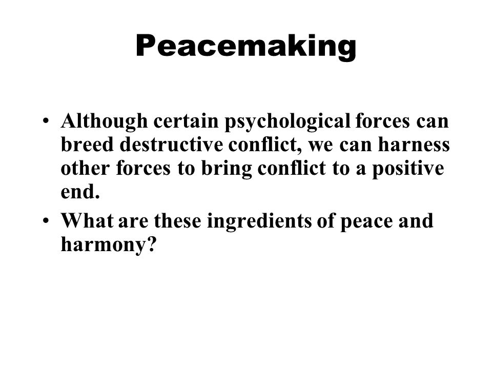 peacemaking psychology