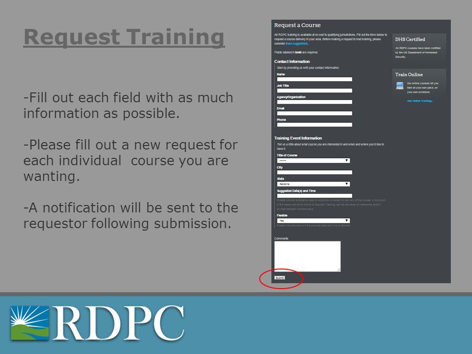 Request Training -Fill out each field with as much information as possible.