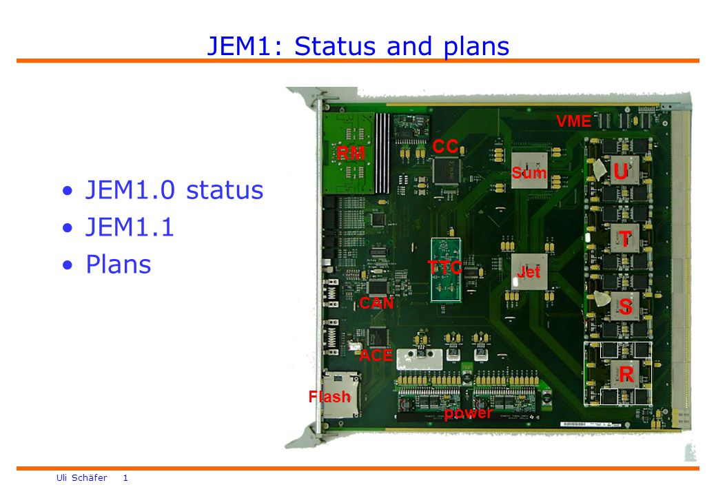 Uli Schäfer 1 JEM1: Status and plans power Jet Sum R S T U VME CC RM ACE CAN Flash TTC JEM1.0 status JEM1.1 Plans