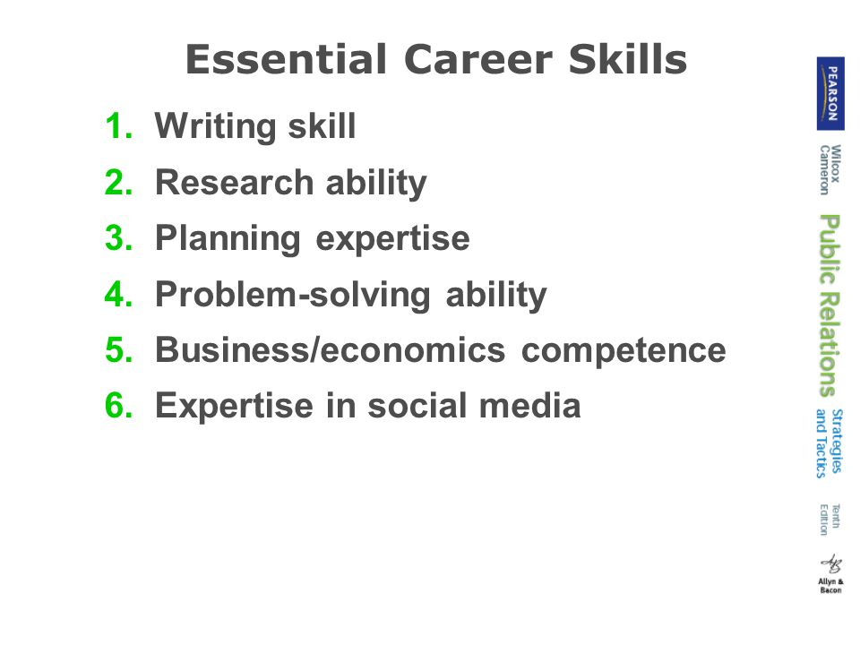 Essential Career Skills 1.Writing skill 2.Research ability 3.Planning expertise 4.Problem-solving ability 5.Business/economics competence 6.Expertise in social media