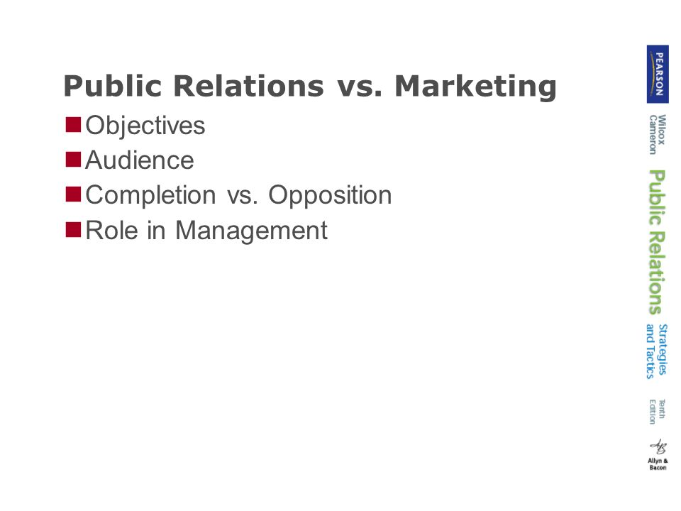 Public Relations vs. Marketing Objectives Audience Completion vs. Opposition Role in Management