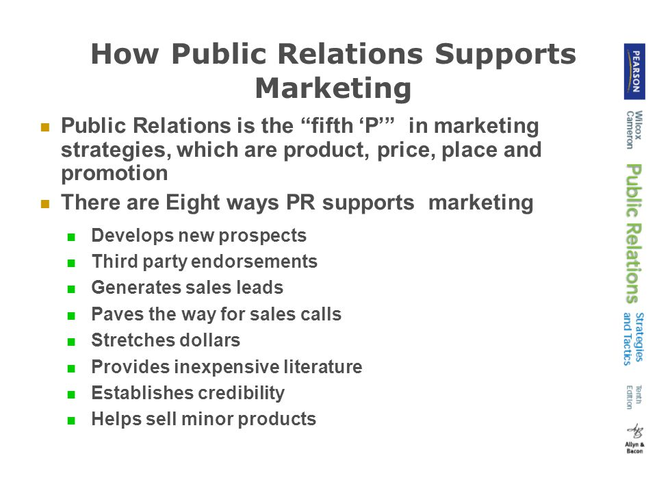 How Public Relations Supports Marketing Develops new prospects Third party endorsements Generates sales leads Paves the way for sales calls Stretches dollars Provides inexpensive literature Establishes credibility Helps sell minor products Public Relations is the fifth 'P' in marketing strategies, which are product, price, place and promotion There are Eight ways PR supports marketing