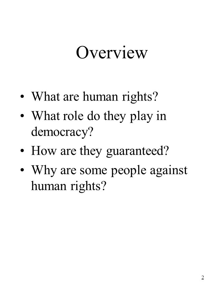 2 Overview What are human rights. What role do they play in democracy.