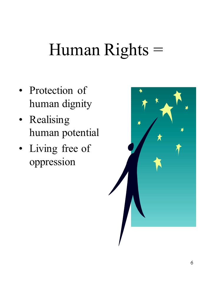 6 Human Rights = Protection of human dignity Realising human potential Living free of oppression