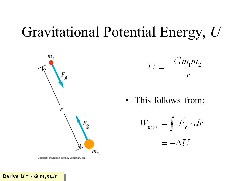 Gravitational Potential Energy, U This follows from: Derive U = - G m 1 m 2 /r