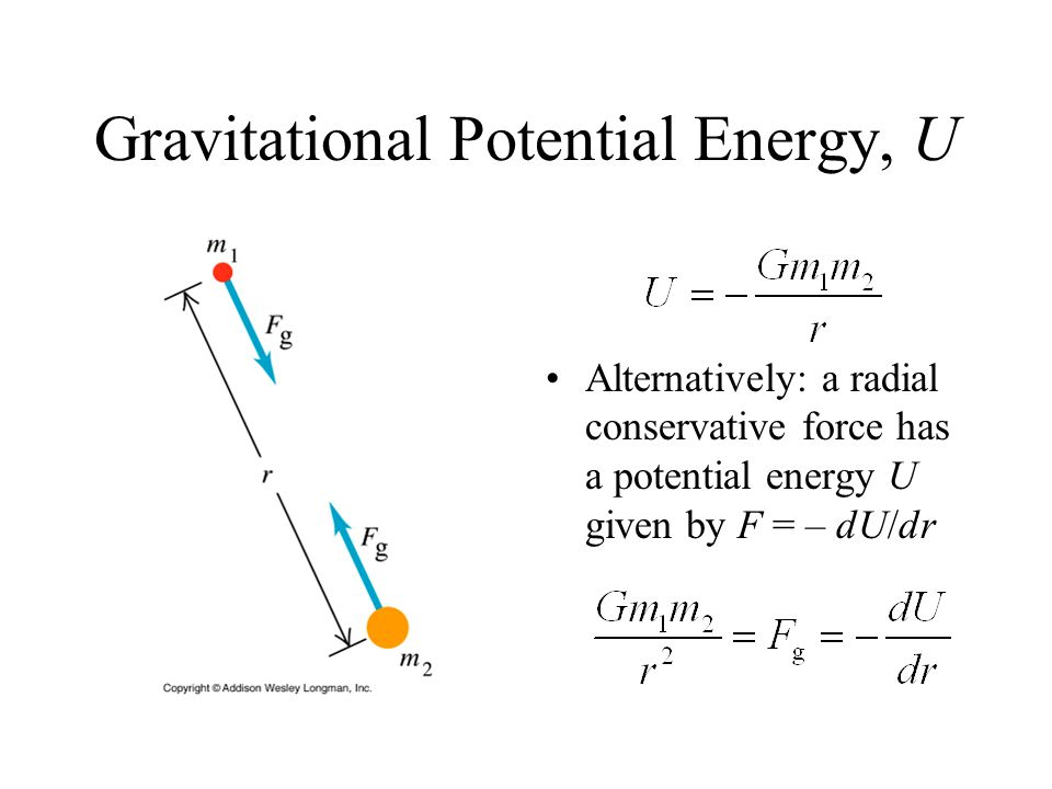 Gravitational Potential Energy, U Alternatively: a radial conservative force has a potential energy U given by F = – dU/dr