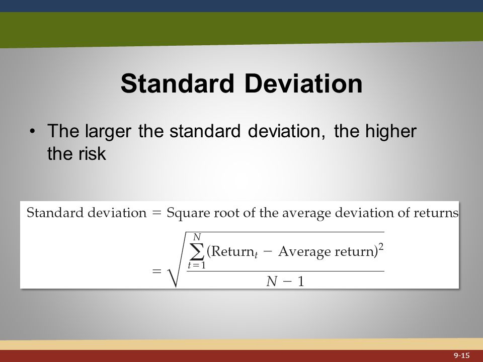 Standard Deviation The larger the standard deviation, the higher the risk 9-15
