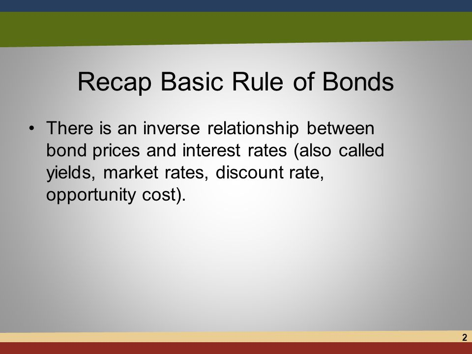 Recap Basic Rule of Bonds There is an inverse relationship between bond prices and interest rates (also called yields, market rates, discount rate, opportunity cost).