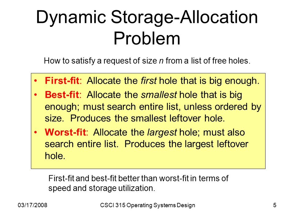 03/17/2008CSCI 315 Operating Systems Design5 Dynamic Storage-Allocation Problem First-fit: Allocate the first hole that is big enough.