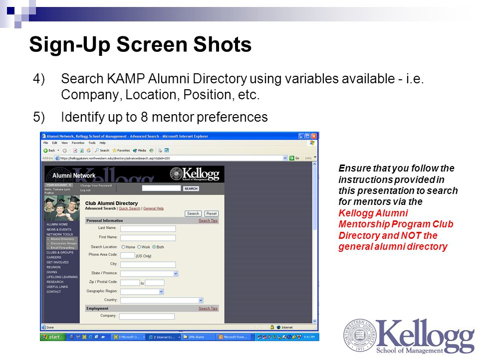 Sign-Up Screen Shots 4)Search KAMP Alumni Directory using variables available - i.e.