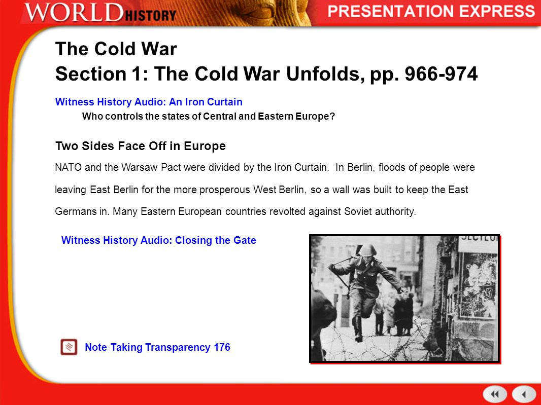 Two Sides Face Off in Europe NATO and the Warsaw Pact were divided by the  Iron