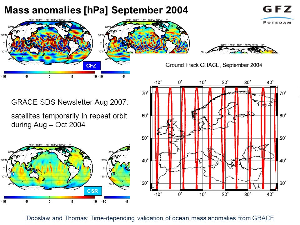 Dobslaw and Thomas: Time-depending validation of ocean mass anomalies from GRACE Mass anomalies [hPa] September 2004 Jason 1 JPL OMCT GFZ ITGCSR GRACE SDS Newsletter Aug 2007: satellites temporarily in repeat orbit during Aug – Oct 2004