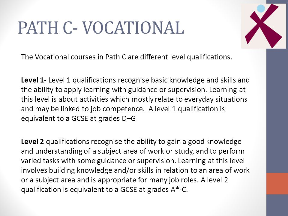 PATH C- VOCATIONAL The Vocational courses in Path C are different level qualifications.