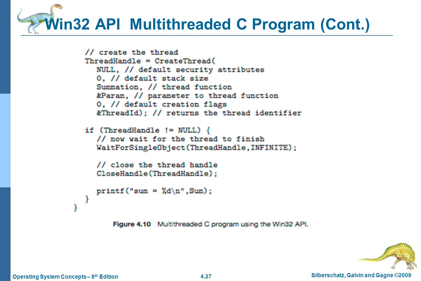 4.27 Silberschatz, Galvin and Gagne ©2009 Operating System Concepts – 8 th Edition Win32 API Multithreaded C Program (Cont.)