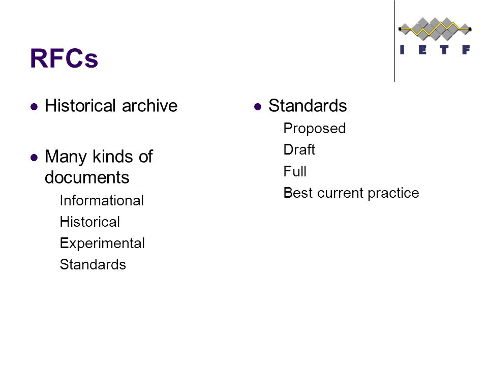 RFCs Historical archive Many kinds of documents Informational Historical Experimental Standards Proposed Draft Full Best current practice
