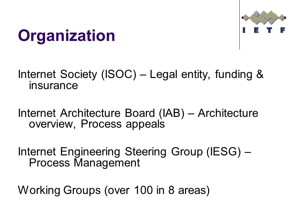 Organization Internet Society (ISOC) – Legal entity, funding & insurance Internet Architecture Board (IAB) – Architecture overview, Process appeals Internet Engineering Steering Group (IESG) – Process Management Working Groups (over 100 in 8 areas)