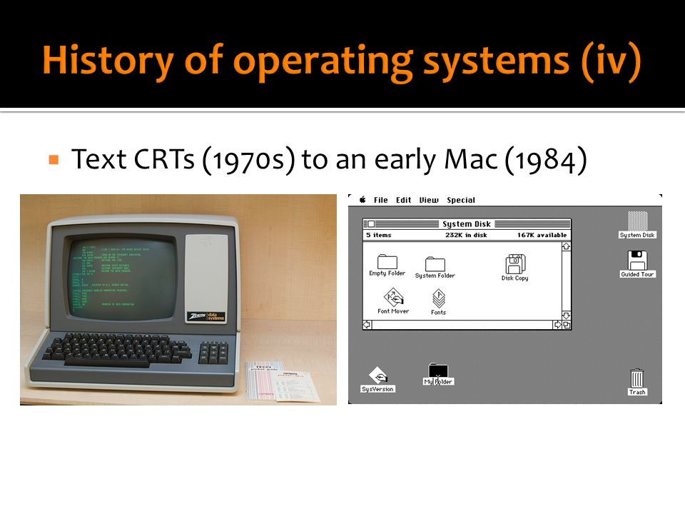  Text CRTs (1970s) to an early Mac (1984)