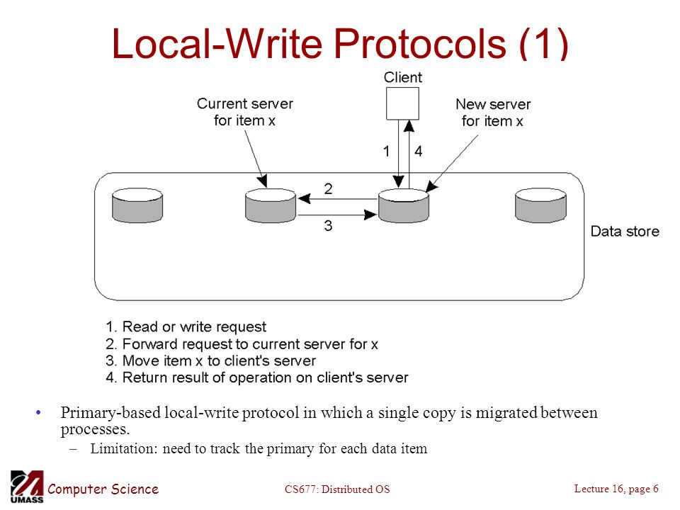 Computer Science Lecture 16, page 6 CS677: Distributed OS Local-Write Protocols (1) Primary-based local-write protocol in which a single copy is migrated between processes.