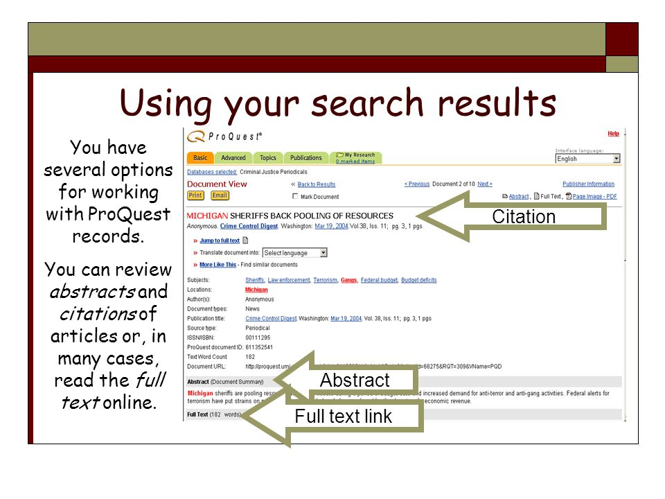Using your search results You have several options for working with ProQuest records.