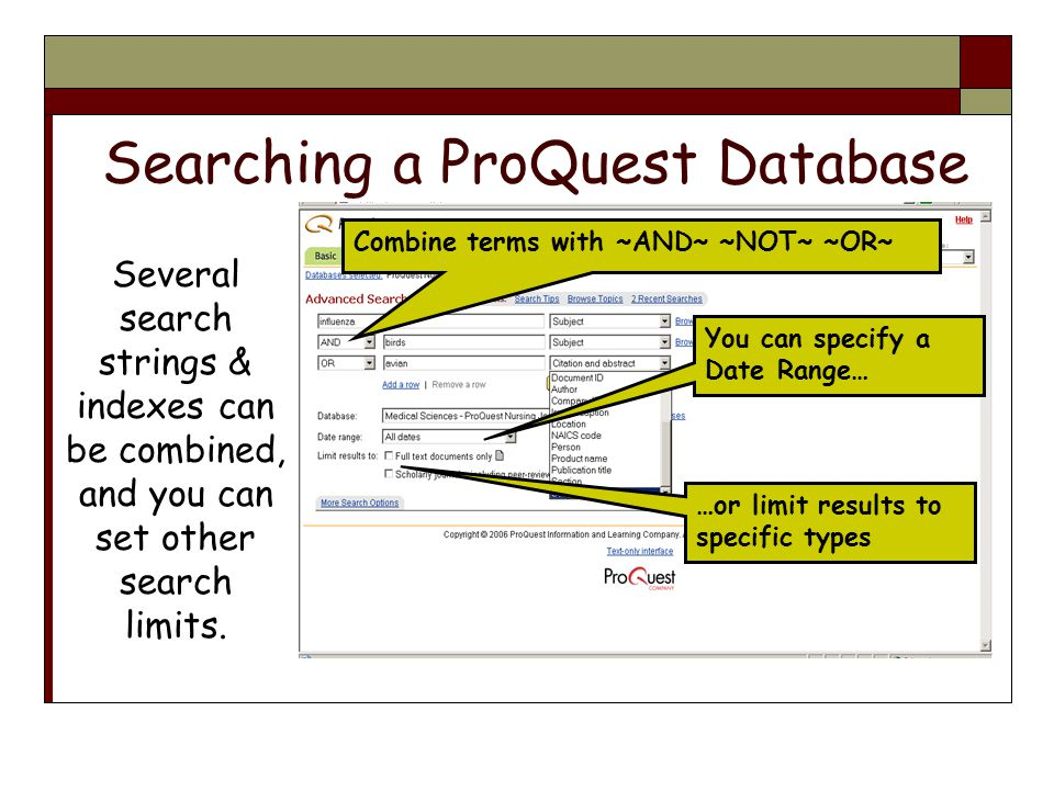 Searching a ProQuest Database Several search strings & indexes can be combined, and you can set other search limits.