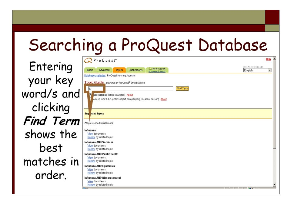 Searching a ProQuest Database Entering your key word/s and clicking Find Term shows the best matches in order.