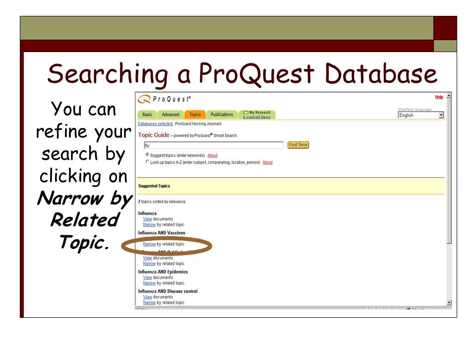 Searching a ProQuest Database You can refine your search by clicking on Narrow by Related Topic.