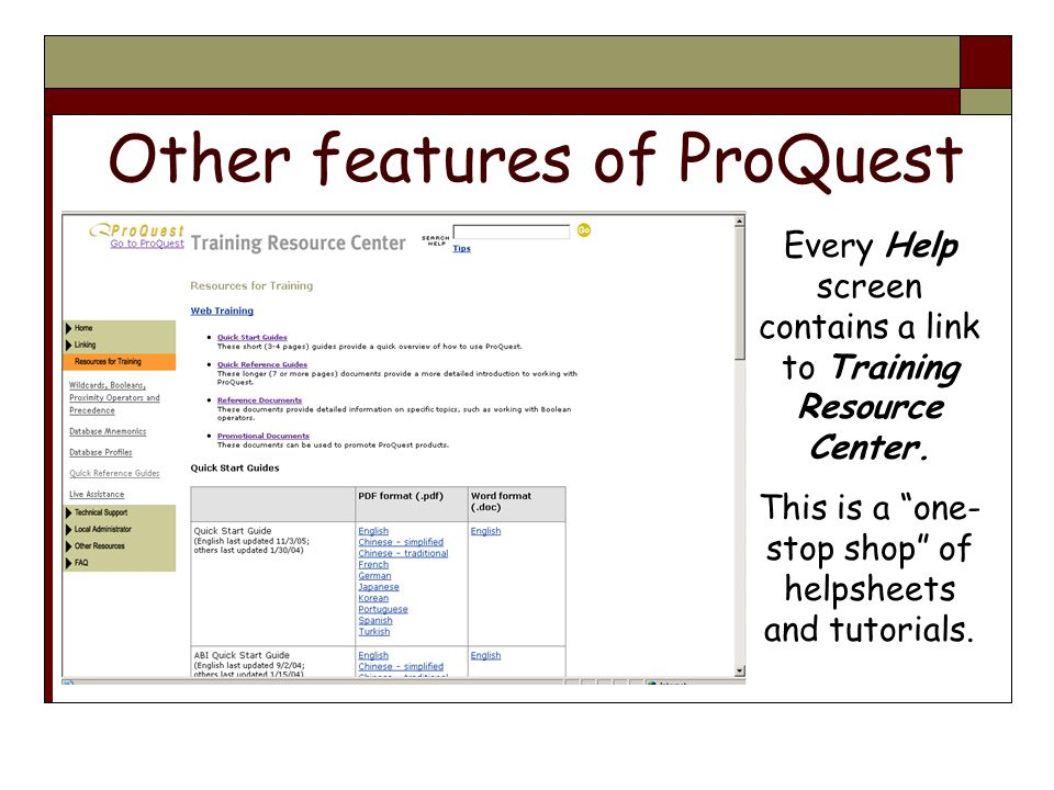 Other features of ProQuest Every Help screen contains a link to Training Resource Center.